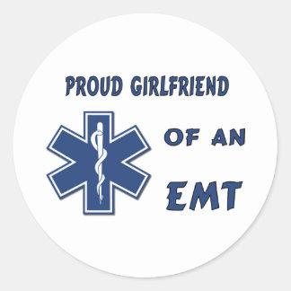 Proud EMT Girlfriend Classic Round Sticker