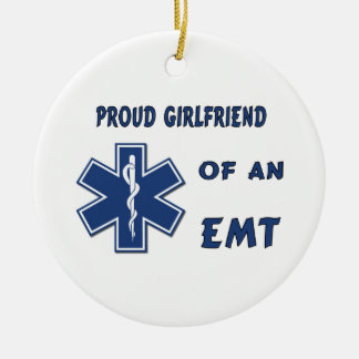 Proud EMT Girlfriend Double-Sided Ceramic Round Christmas Ornament