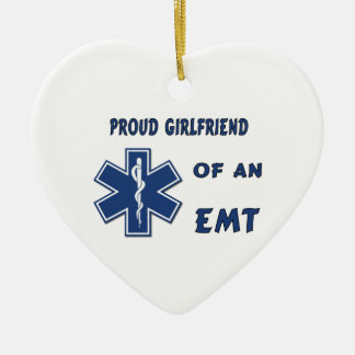 Proud EMT Girlfriend Double-Sided Heart Ceramic Christmas Ornament