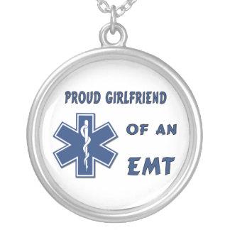 Proud EMT Girlfriend Round Pendant Necklace