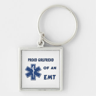 Proud EMT Girlfriend Silver-Colored Square Keychain