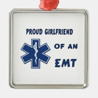 Proud EMT Girlfriend Square Metal Christmas Ornament