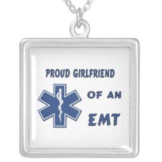 Proud EMT Girlfriend Square Pendant Necklace