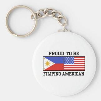 Proud Filipino American Basic Round Button Keychain