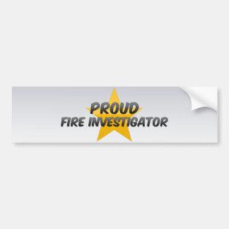 Proud Fire Investigator Car Bumper Sticker