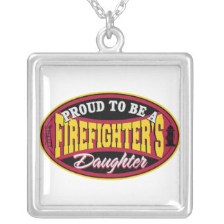 Proud Firefighter Daughter Square Pendant Necklace