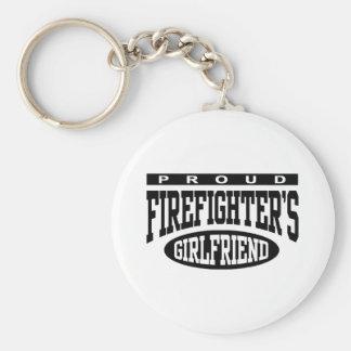 Proud Firefighter's Girlfriend Basic Round Button Keychain