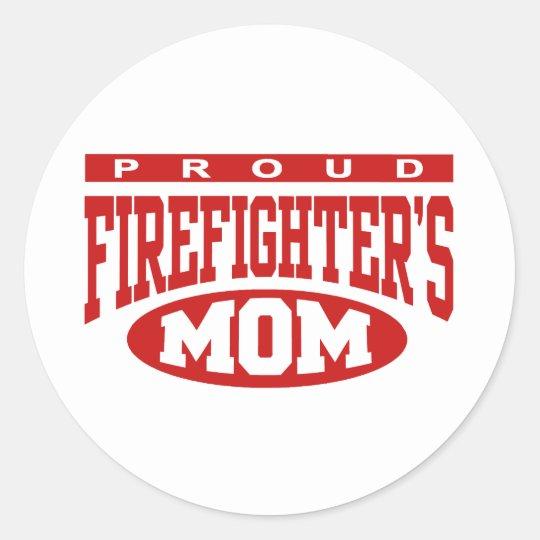 Proud Firefighter's Mom Classic Round Sticker