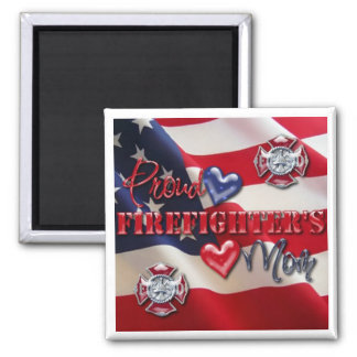 """""""Proud Firefighter's Mom"""" 2 Inch Square Magnet"""