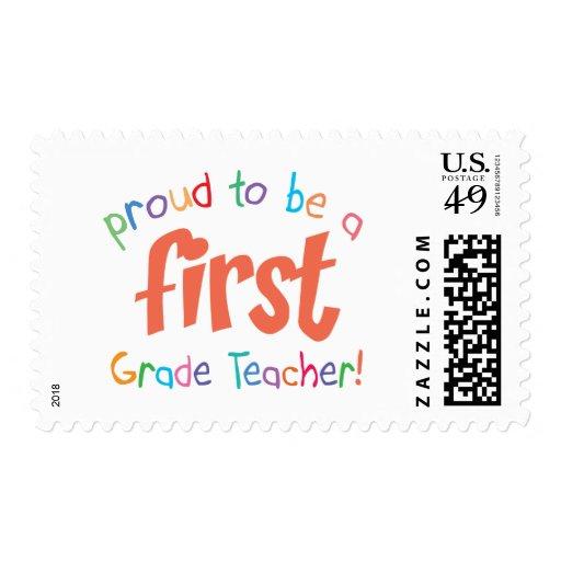 Proud First Grade Teacher Custom Postage Stamp