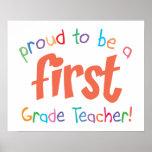 Proud First Grade Teacher Poster Print
