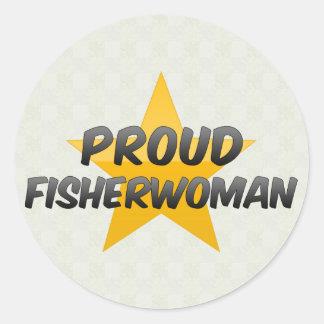 Proud Fisherwoman Classic Round Sticker