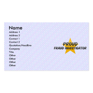 Proud Fraud Investigator Business Card Templates