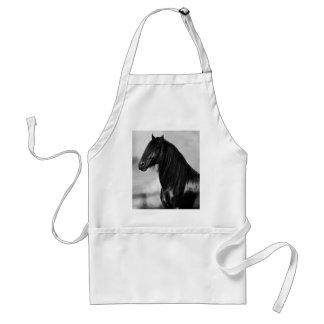 Proud Friesian black stallion horse Adult Apron