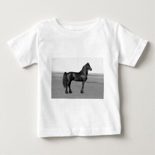 Proud Friesian black stallion horse Baby T-Shirt