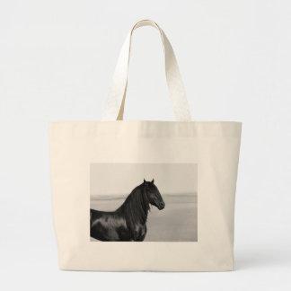 Proud Friesian black stallion horse Jumbo Tote Bag