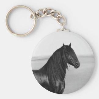 Proud Friesian black stallion horse Basic Round Button Keychain