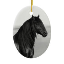Proud Friesian black stallion horse Ceramic Ornament