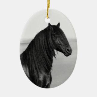 Proud Friesian black stallion horse Ceramic Ornament