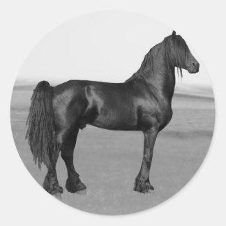 Proud Friesian black stallion horse Classic Round Sticker