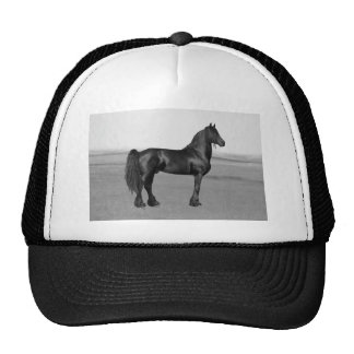 Proud Friesian black stallion horse Mesh Hats