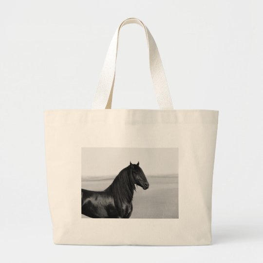 Proud Friesian black stallion horse Large Tote Bag
