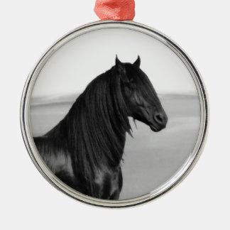 Proud Friesian black stallion horse Metal Ornament