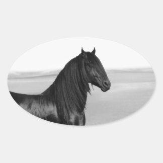Proud Friesian black stallion horse Oval Sticker