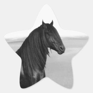 Proud Friesian black stallion horse Star Sticker