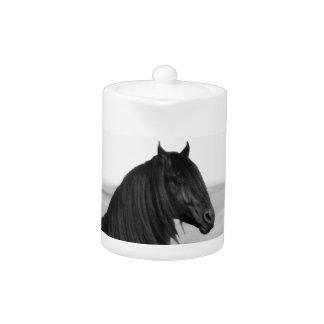 Proud Friesian black stallion horse Teapot
