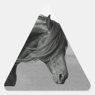 Proud Friesian black stallion horse Triangle Sticker