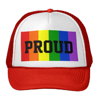 Proud Gay Rainbow Flag Ball Cap - Red Trucker Hat