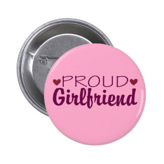 Proud girlfriend cute heart pink button