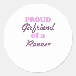 Proud Girlfriend of a Runner Round Stickers