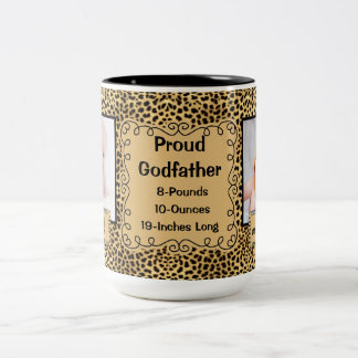 Proud Godfather - Cheetah Animal Print Baby Photo Two-Tone Coffee Mug