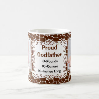 Proud Godfather Giraffe Print with Baby Photos Coffee Mug