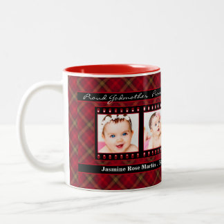 Proud Godmother 4 Photo Mug Red Plaid with Black