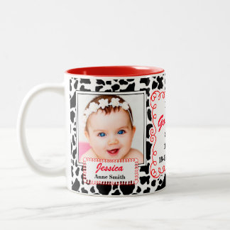 Proud Godmother Black White and Red Cow Print Baby Two-Tone Coffee Mug