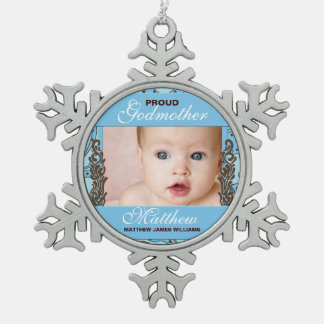 Proud Godmother Blue and Brown Photo Snowflake Pewter Christmas Ornament