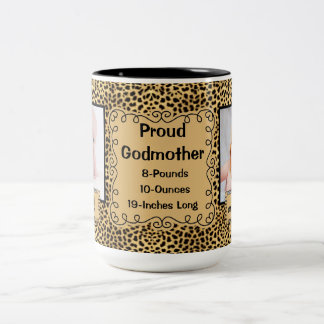 Proud Godmother Cheetah Animal Print Baby Photos Two-Tone Coffee Mug