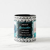Proud Godmother Dalmatian Black and White Photo Two-Tone Coffee Mug
