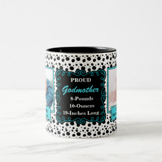 Proud Godmother Dalmatian Black and White Photo Two-Tone Coffee Mug