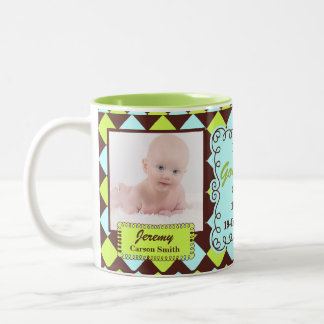 Proud Godmother Green and Brown Arglye Two-Tone Coffee Mug