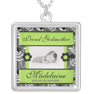 Proud Godmother Green Floral Baby Photo Silver Plated Necklace