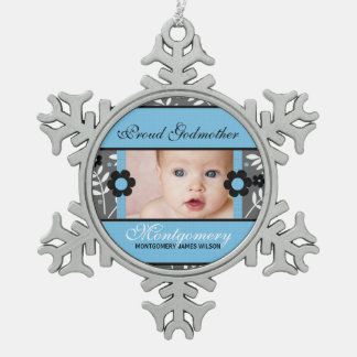Proud Godmother Photo Ornament | Blue Christmas