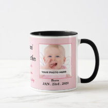 Proud Godmother Pink and Black Baby Photo Mug