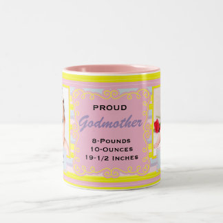 Proud Godmother Pink and Yellow Stripes Two-Tone Coffee Mug