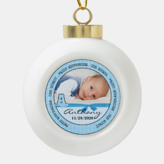 Proud Godparents Blue Monogram A Ceramic Ball Christmas Ornament