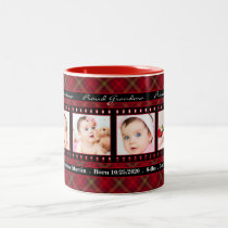 Proud Grandma 4 Photo Mug Red Plaid with Black