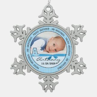 Proud Grandma Baby Blue Monogram A Snowflake Pewter Christmas Ornament